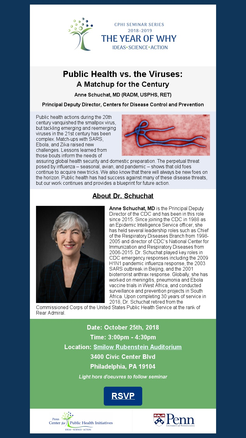 Upcoming CPHI Seminar with Dr. Anne Schuchat, Principal Deputy Director of the CDC